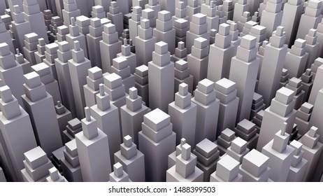 Low poly modern city model. 3D render.