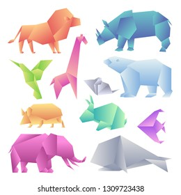Low poly modern gradient animals set. Origami gradient paper animals. Lion, rhino, hummingbird, giraffe, mouse, bear, hedgehog, hare, fish, elephant, whale.