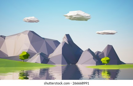 low poly mountain landscape with water