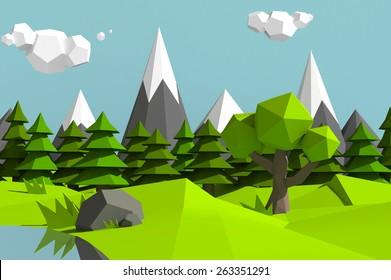 Low poly mountains landscape