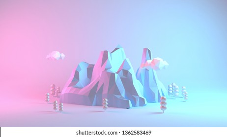 Low poly neon pastel mountains, forest and clouds. 3d rendering picture.