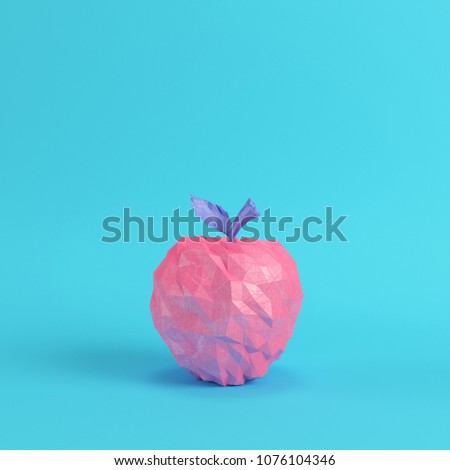 a821d61f Low poly pink apple on bright blue background in pastel colors. Minimalism  concept. 3d