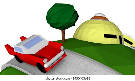 Low Poly Planet with an house, a car and trees. Dragon Ball Art 3D. Landscape