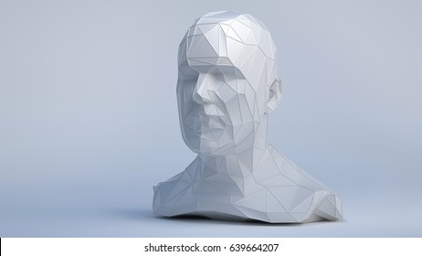 Low Poly style human head on white background. 3d concept Illustration with place for your design.