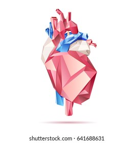 Low poly style isolated anatomical heart in red, blue and white colors on the white background.  Raster illustration.