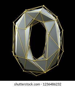 Low poly style number 0. Silver and gold color isolated on black background. 3d rendering