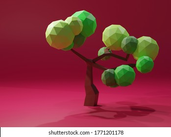 Low Poly tree on red backgorund
