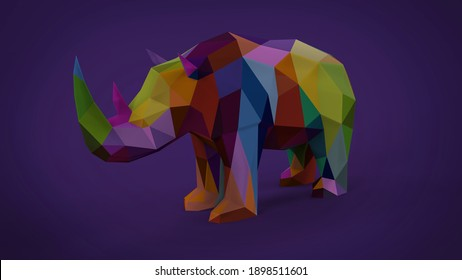 Low poly triangle soft colorful rhinoceros animal isoleted on soft purple background 3d rendering image