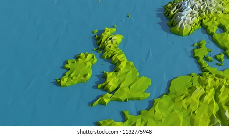 Low Poly UK and IrelandMap