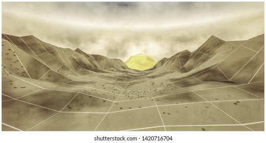low poly valley  in the sunset 3d illustration