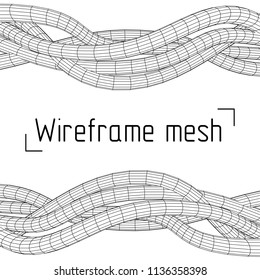 Low poly vein or wire wireframe mesh background. Scinece and tech 3d render illustration.