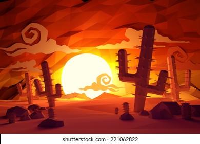 Low poly Wild West landscape. 3D Illustration