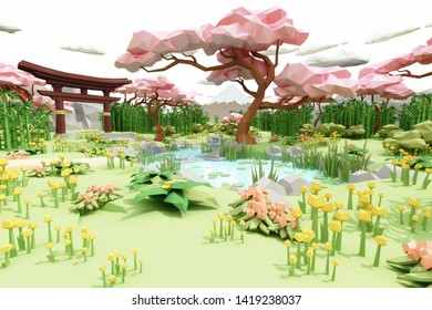 Low polygon Illustration cartoon style of a Japanese garden. 3d rendering