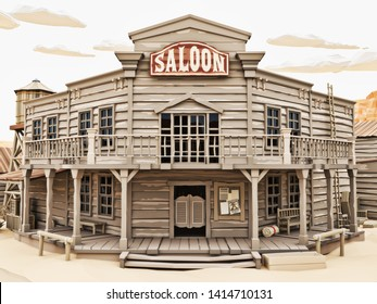 Low polygon Illustration style of a western town saloon with various buildings. 3d rendering