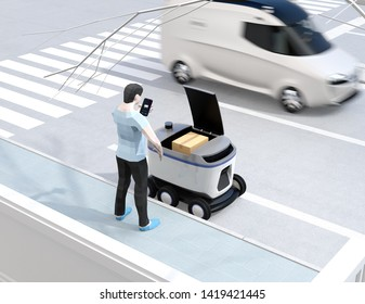 Low polygon style man using smartphone to unlock self-driving delivery robot's door. Last one mile concept. 3D rendering image.