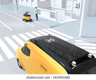 Low polygon style man using smartphone unlock and pick up parcel from self-driving delivery robot. Last one mile concept. 3D rendering image.