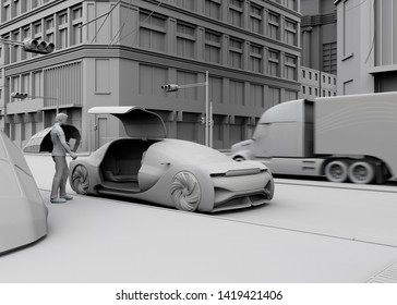 Low polygon style people use smartphone to request a self driving car for moving. Ride sharing concept. 3D clay rendering image.