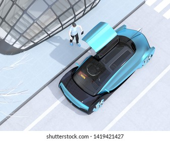 Low polygon style people use smartphone to request a self driving car for moving. Ride sharing concept. 3D rendering image.