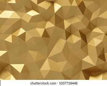 Low polygonal golden background - 3d rendering.