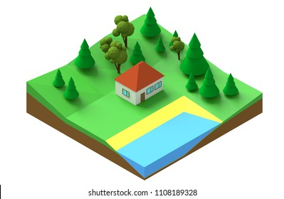 Low polygonal isometric model of a house in the forest on the lake. 3d rendering of a segment of a plot of land in a cut.