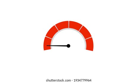 Low Speedometer or Tachometer on White Background
