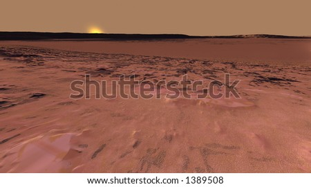 Low Sun over rock-strewn Martian plain