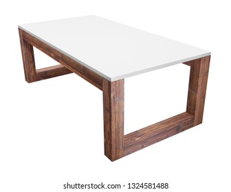 Low table isolated on white background. Saved clipping path included. 3D rendering image.