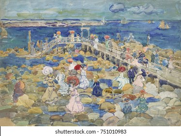 LOW TIDE, BEACHMONT, by Maurice Brazil Prendergast, 1900_05, American painting, watercolor. People enjoying beach at low tide in Beachmont, a suburb north of Boston. It shows the influence of Post Imp