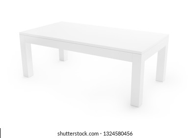 Low, white table isolated on white background. Saved clipping path included. 3D rendering image.