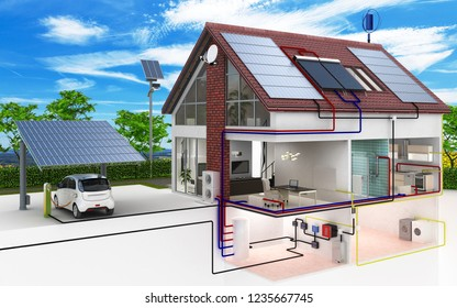 Low-energy house - blue sky background - 3d illustration