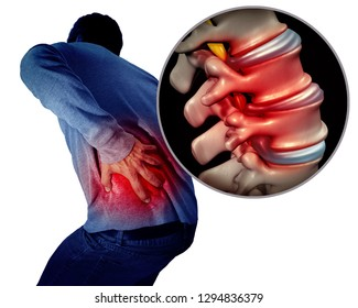 Lower back pain or backache and painful spine medical concept as a person holding the painful spinal area as a medical concept with 3D illustration elements.