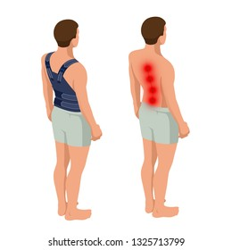 Lower back pain or Spine pain, osteoporosis. Anatomical body of a man. Rehabilitation after trauma. Orthopedics and medicine. Isometric  illustration.