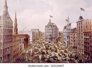 Lower Broadway in New York city, lithograph 1875