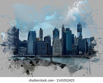 Lower Manhattan skyline from Brooklyn Heights Promenade  in New York City, USA. Watercolor effect, look through the dusty window.