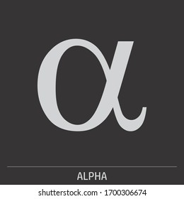 Lowercase Alpha greek letter icon illustration on gray background with label