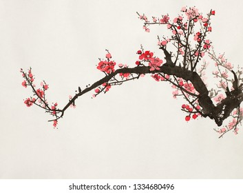 lowering plum branch on a light background