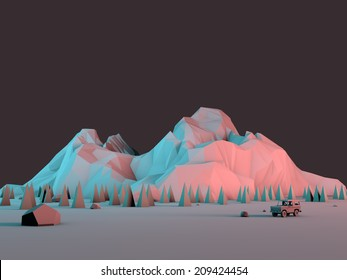 Low-Poly 3d Geometric Mountain Scene with Off-Road Truck 4x4