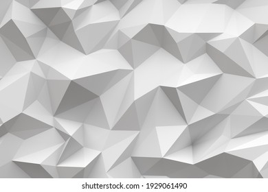 Low-poly background in the form of chaotic white polygons. Wall decor. Minimalist style. 3d illustration.