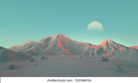 Low-Poly Mountain Desert Landscape