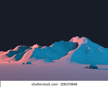 Low-Poly Mountain Landscape at Night with Stars