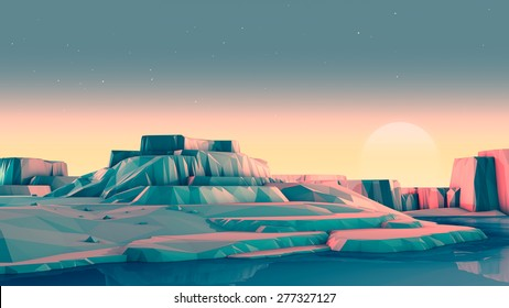 Low-Poly Rocky Mountain Landscape with Stars and Sun