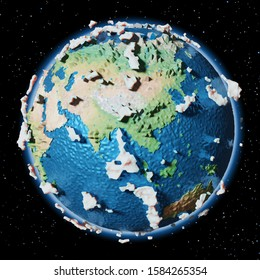 Lowpoly stylized Earth with Clipping path - 3D rendering