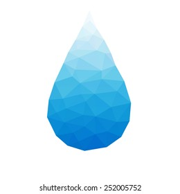 low-poly water drop blue