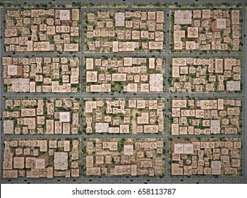 Low-rise city from above view. 3d rendering