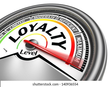 loyalty level conceptual meter indicate hundred per cent, isolated on white background