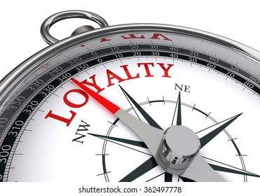 Loyalty word on conceptual compass, isolated on white background