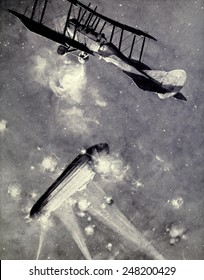 Lt. A. De Bathe Brandon attacking Zeppelin raiders over England on March 31, 1916. The New Zealand pilot Brandon was awarded the Military Cross for the action.
