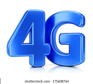 LTE wireless communication technology concept. 4G blue icon isolated on white background.