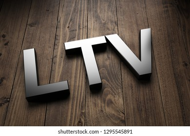 LTV or loan-to-value 3d sign on wood used by financial lenders to establish the amount of a loan in relation to the value of the underlying asset. 3d Rendering