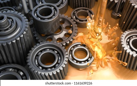 Lubricant and Gears - 3D Rendering